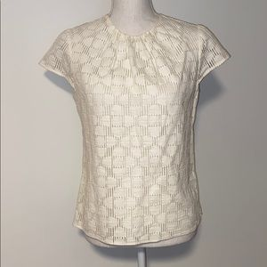 Milly Ivory Textured Cutout Cap Sleeve Blouse!!